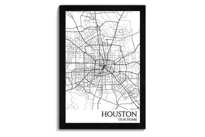 framed map of houston