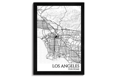 framed map of la