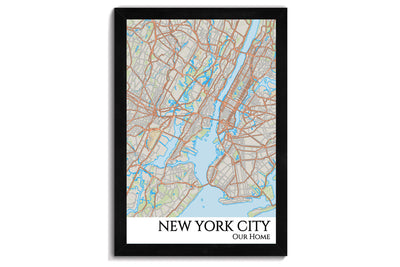 framed map of nyc