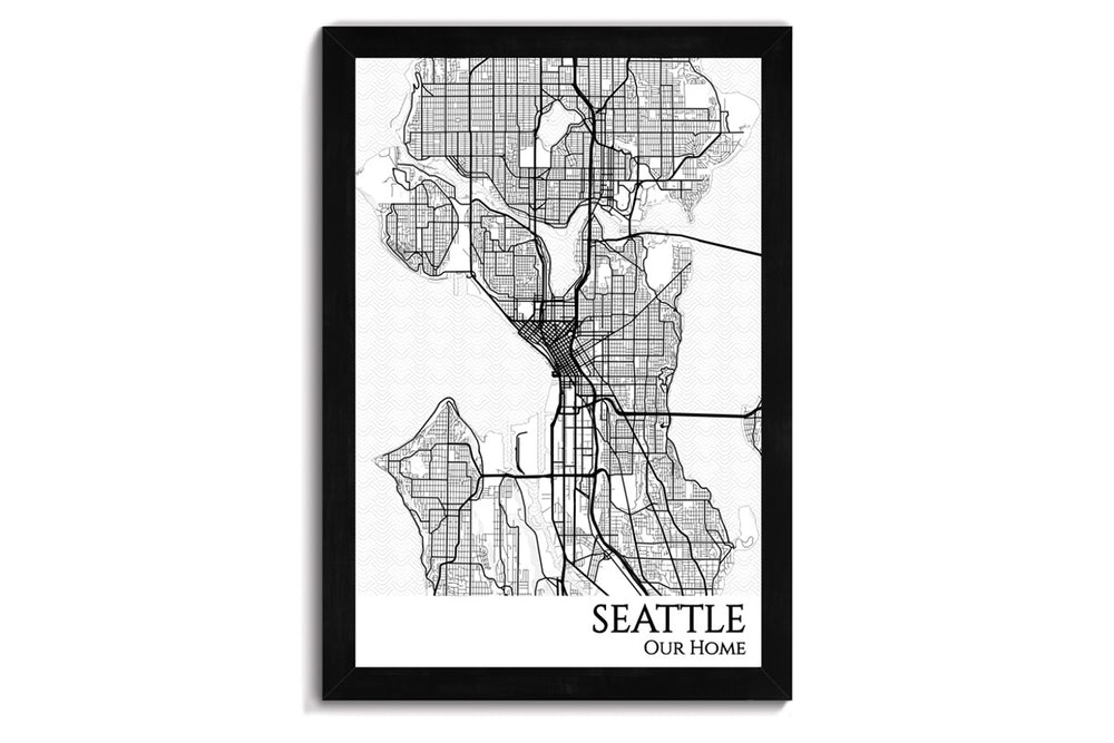 framed map of seattle