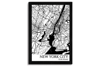 framed nyc map