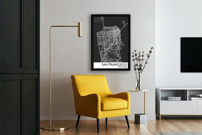 framed wall city map