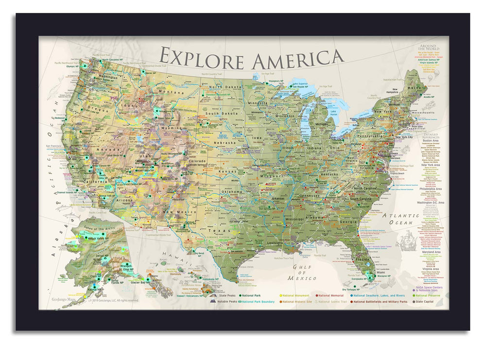 framed usa push pin map