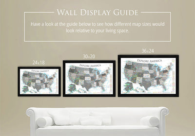 framed usa wall maps