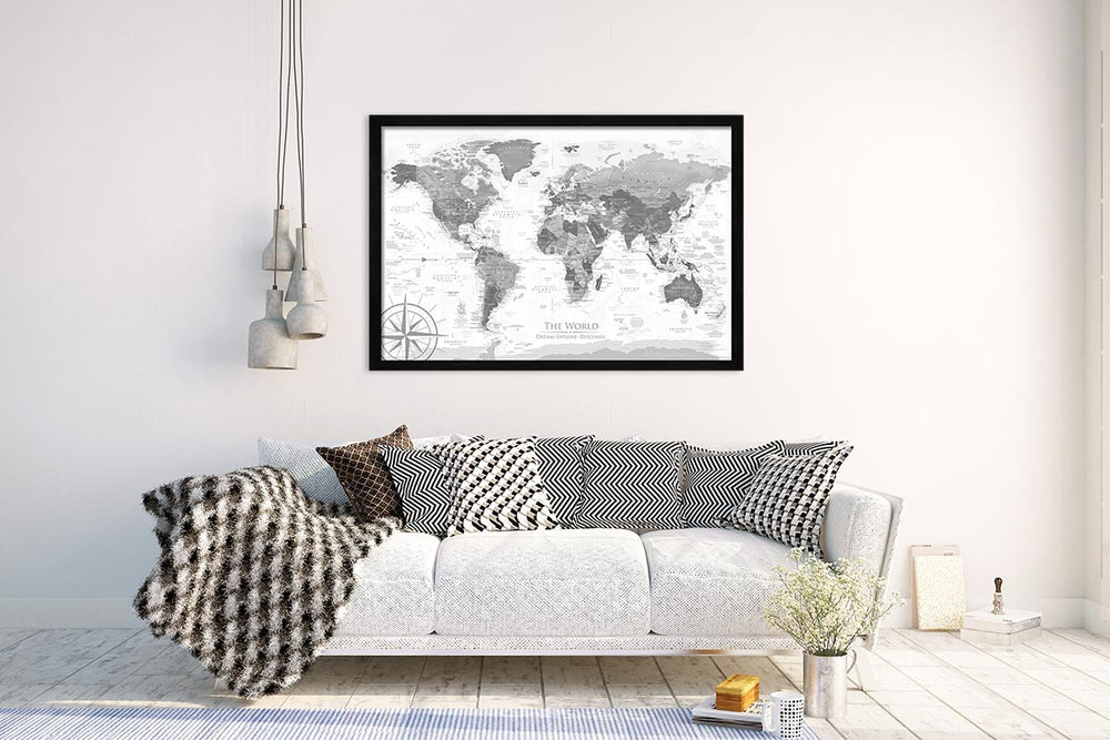 framed world map on wall