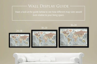 framed world map sizes
