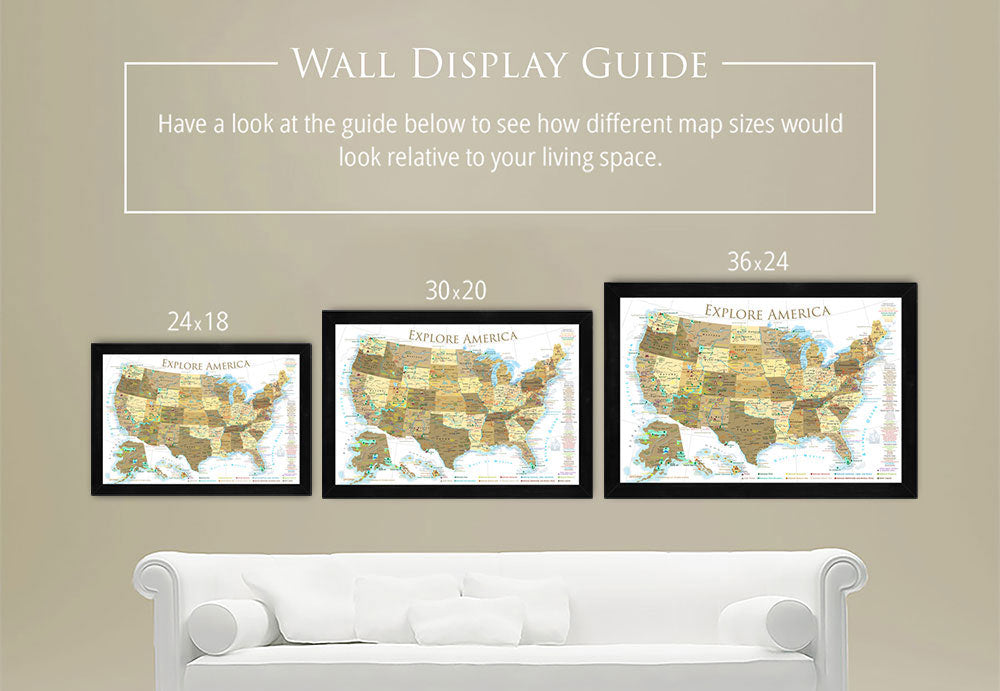gold usa map on wall