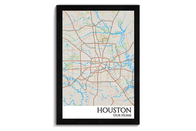 houston city map wall art