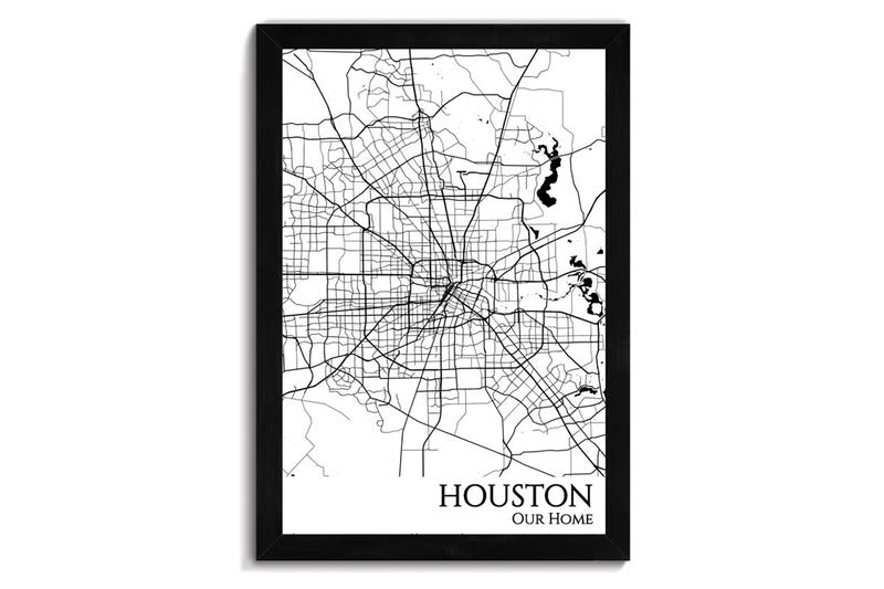 houston framed city map