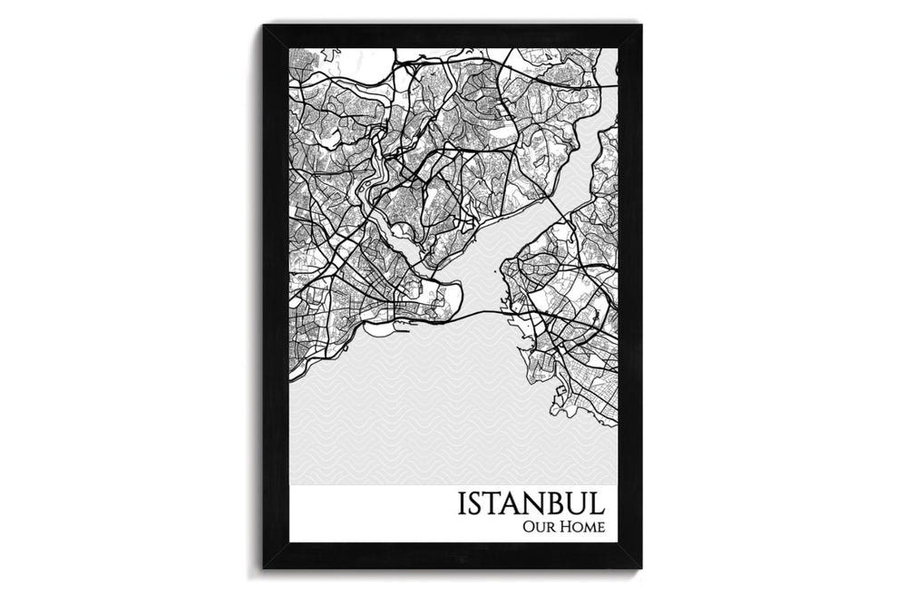 istanbul city map wall art