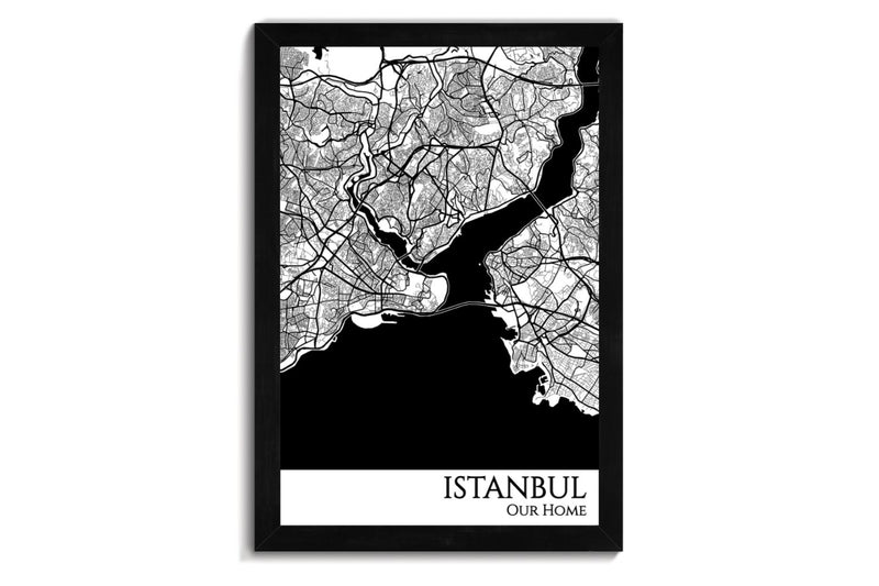 framed map of istanbul