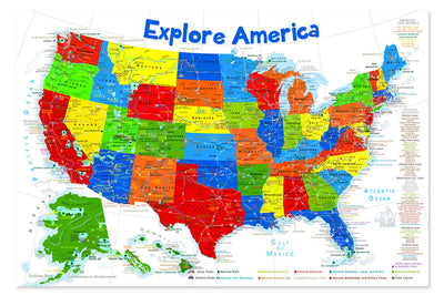 usa map poster for kids