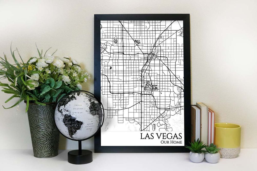 las vegas street map wall art