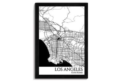 los angeles framed city map