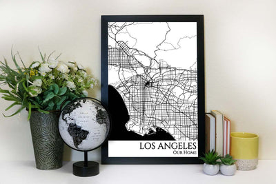 los angeles street map wall art