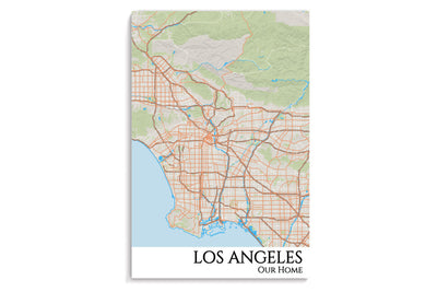 los angeles city map hanging poster