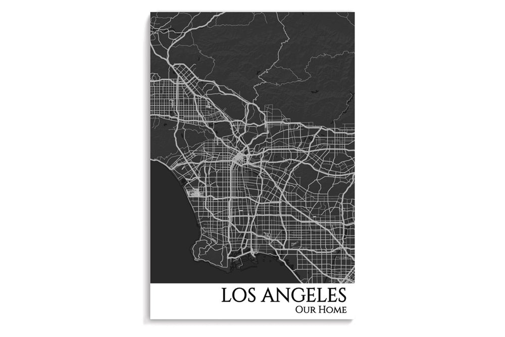 los angles city map poster