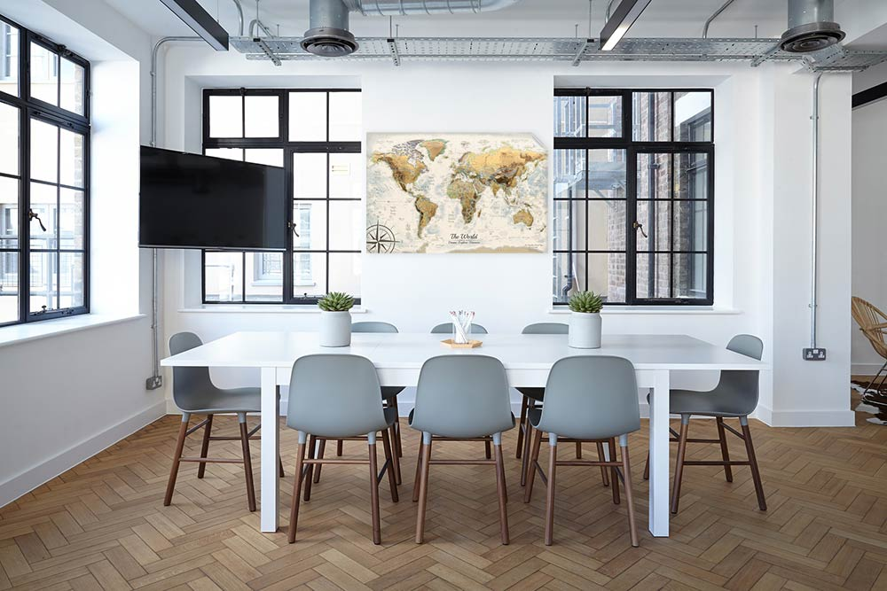 world map in office space