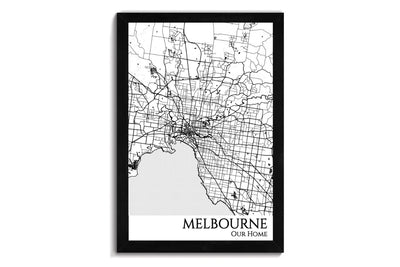 melbourne city map wall art