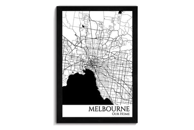 framed map of melbourne