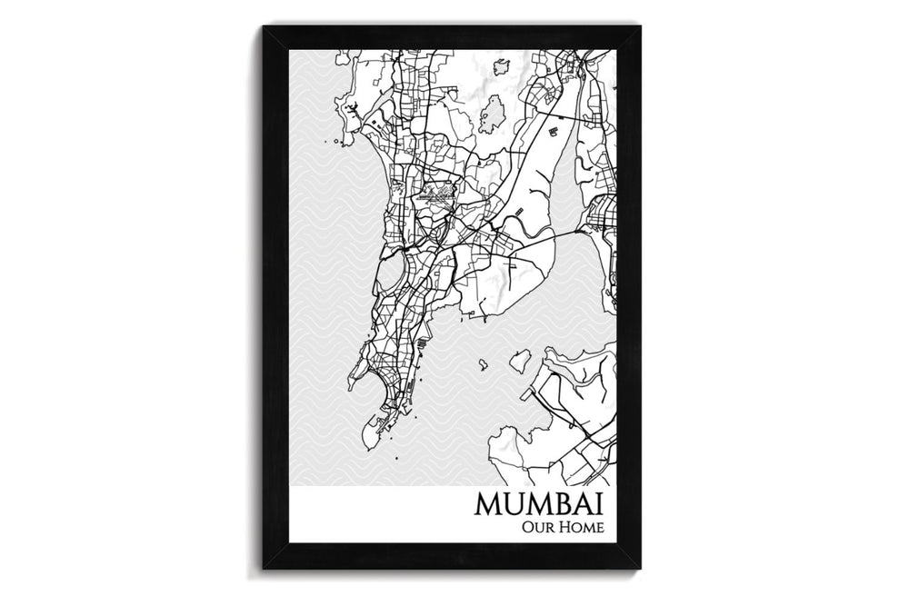 Mumbai City Map Wall Art