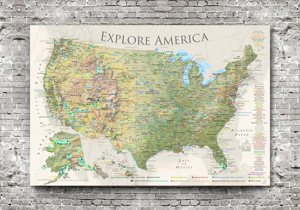 map poster of the united states