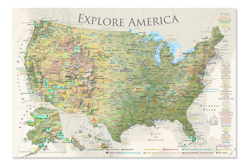 Special Sale: 30x20 Inch USA Nautilus Canvas Wrap Map