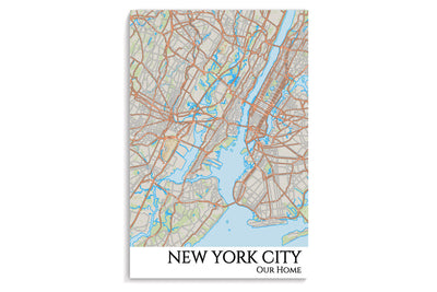 new york city map hanging poster