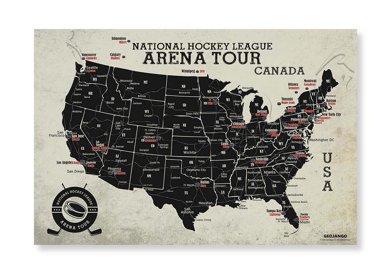nhl map poster