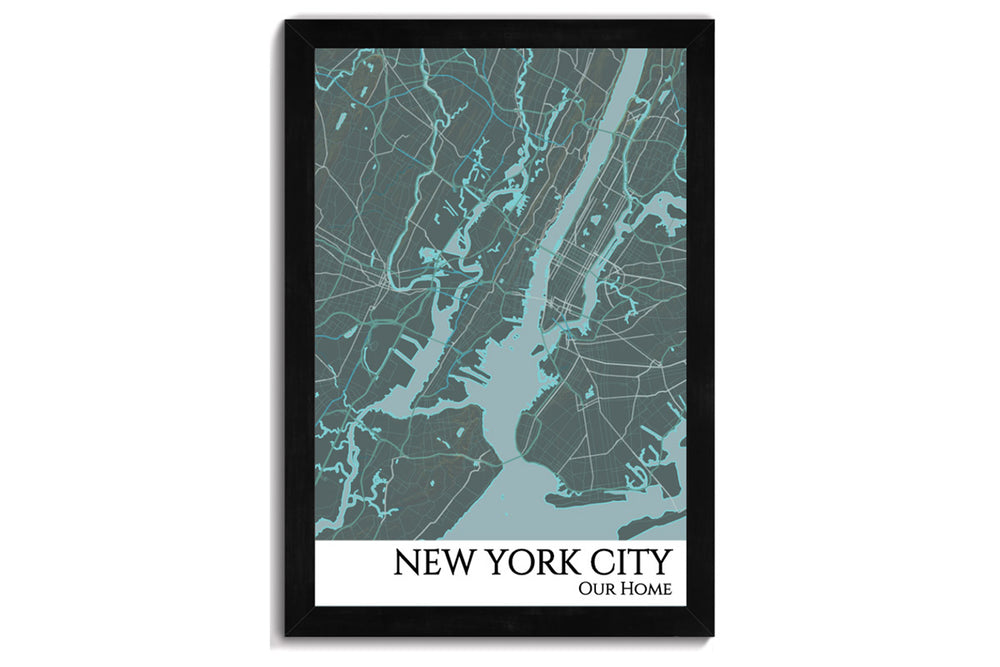 nyc framed city map