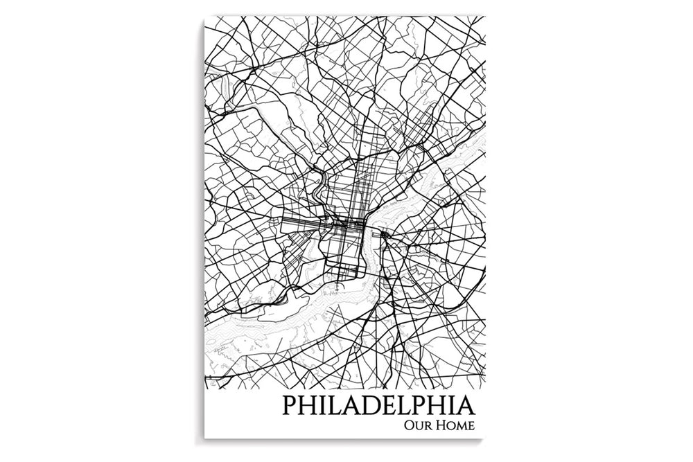 philadelphia city map hanging poster