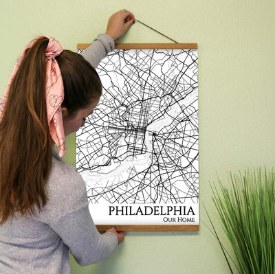 philadelphia city street map print
