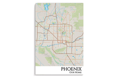 phoenix city map hanging poster