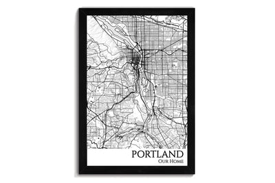 portland city map wall art