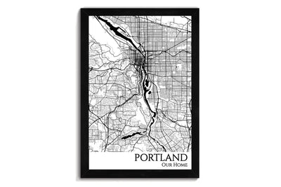 framed map of portland