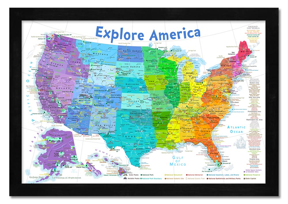 rainbow colored usa map