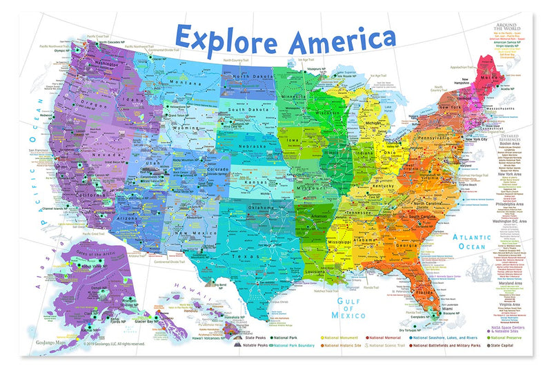 united states map poster for kids