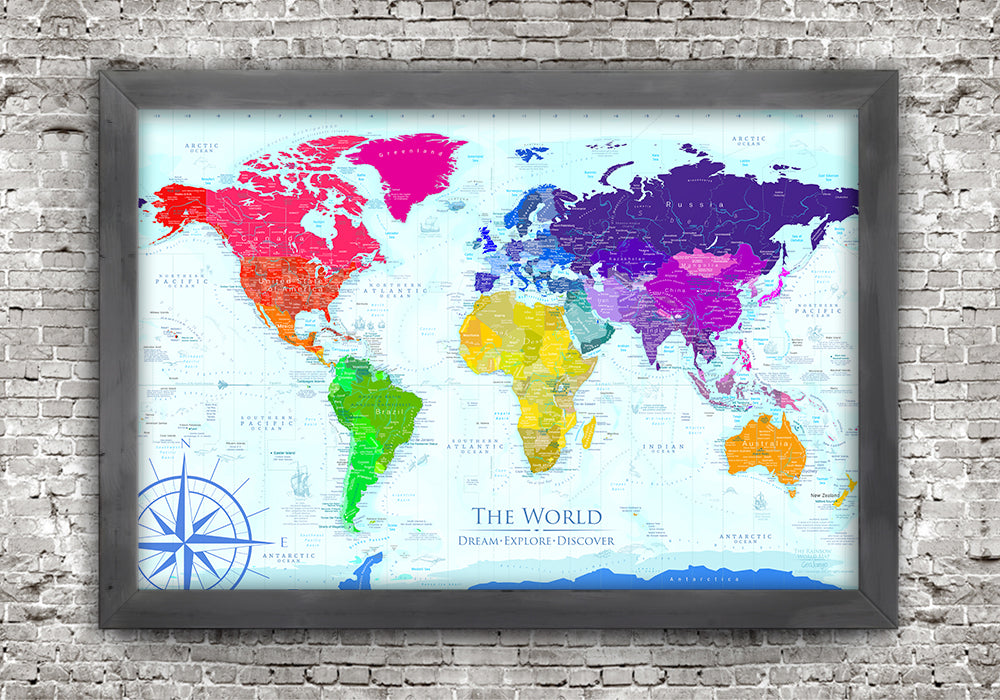 Rainbow world map framed board world push pin travel maps world map for teens wedding gift for gay couple gumiabroncs Gallery
