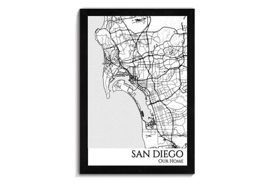 san diego city map wall art