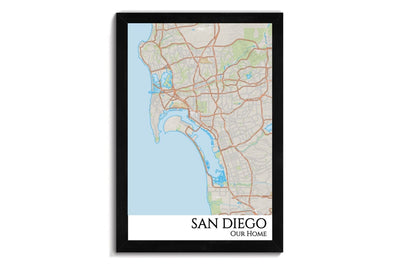 san diego street map art