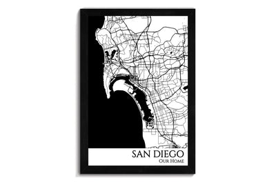 framed map of san diego