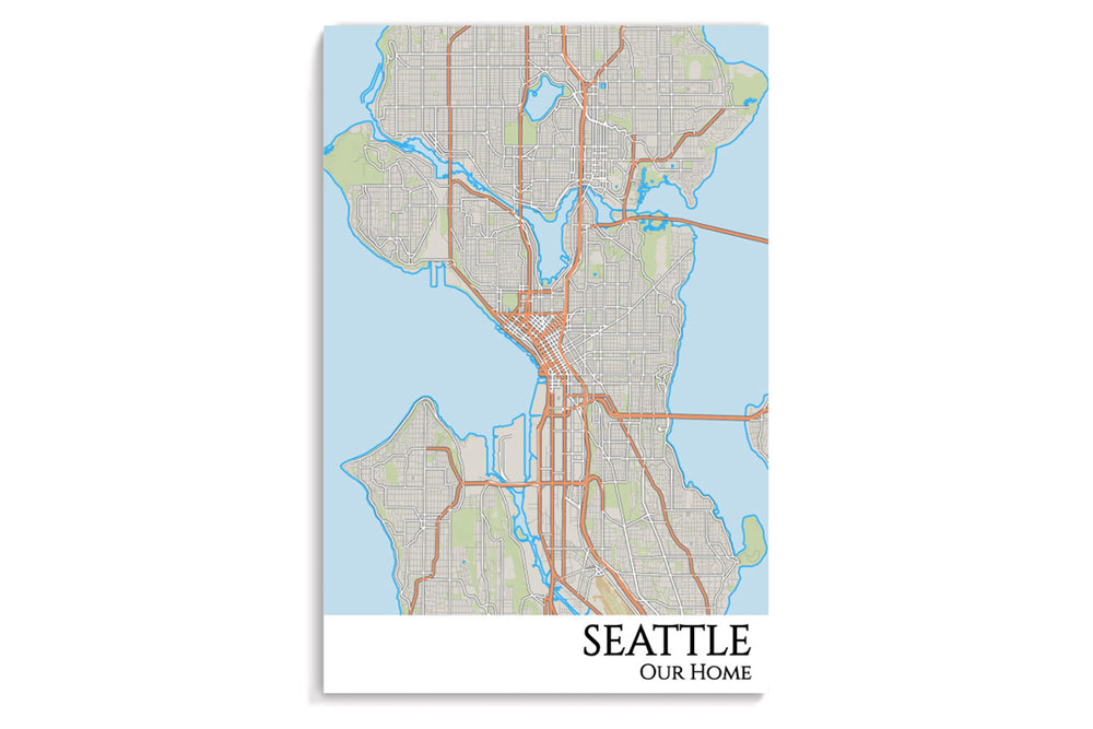 seattle city map hanging poster