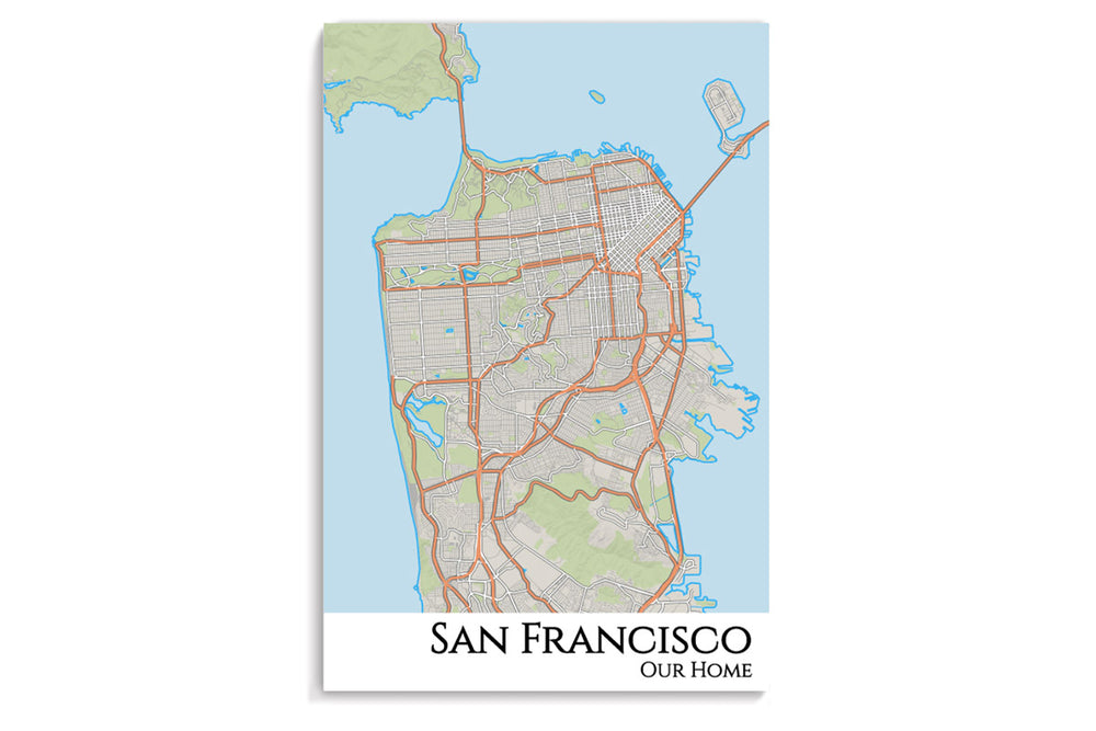 sf city map art print