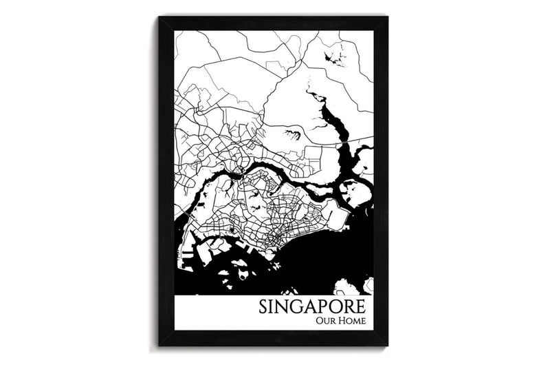 framed map of singapore