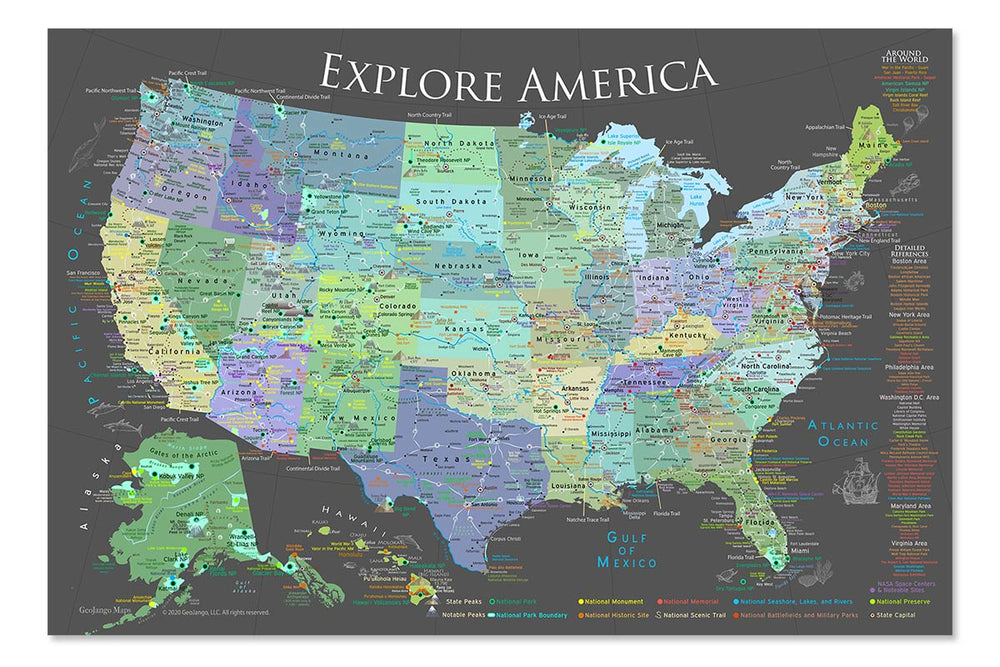 usa national parks map poster
