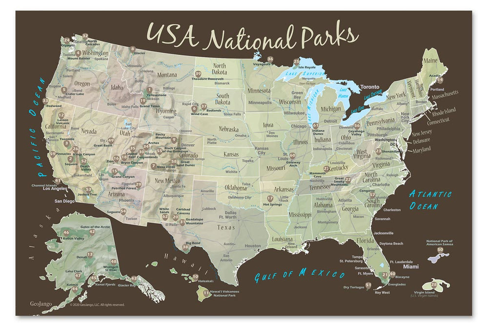 sticker map of us national parks
