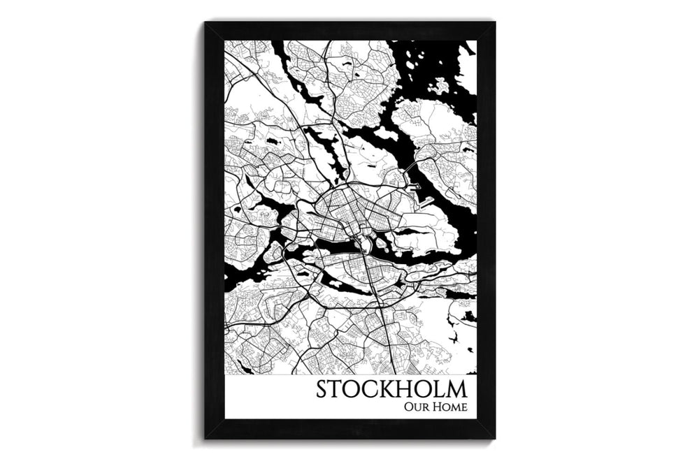 framed map of stockholm