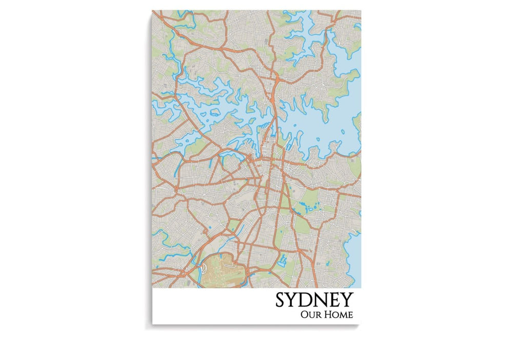 sydney city map hanging poster