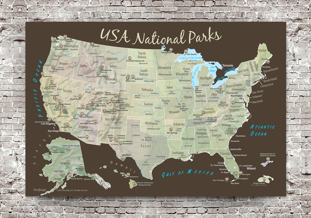 us national park map for stickers