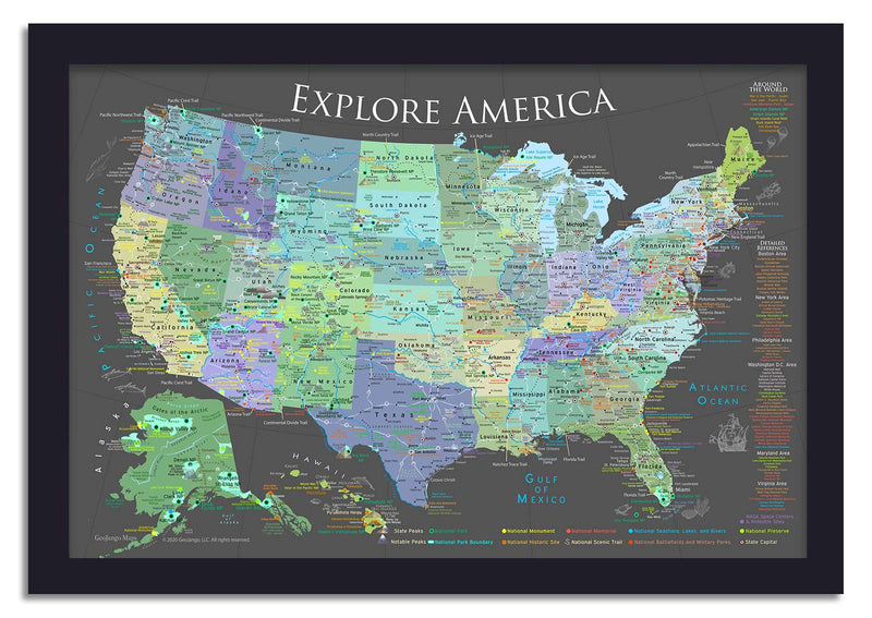 usa national parks map with push pins